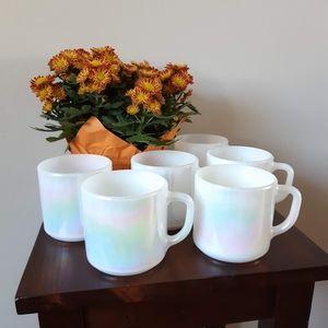 Vintage Federal Glass Pearl Lustre Mugs
